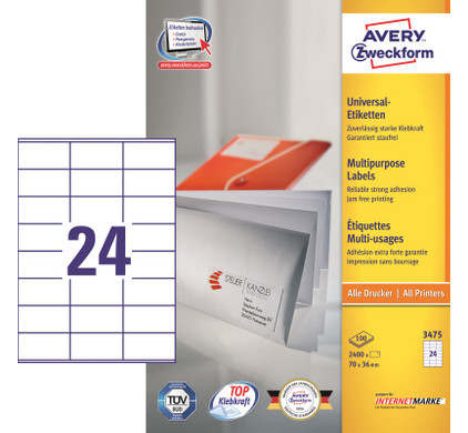Avery Universele Etiketten Wit 70x36mm 100 vellen