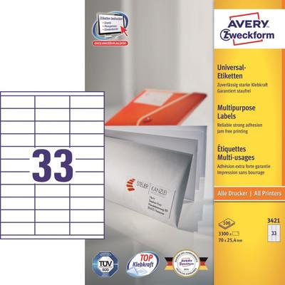 Image of Avery Universele Etiketten Wit 70x25,4mm 100 vellen