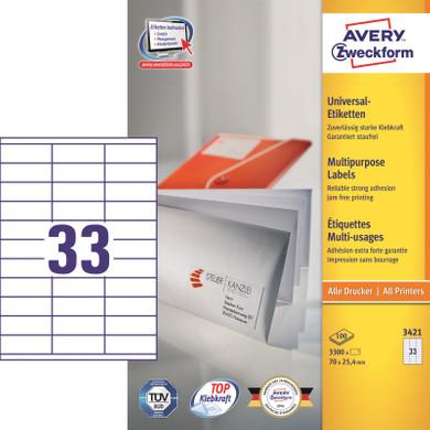 Avery Universele Etiketten Wit 70x25,4mm 100 vellen