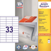 Avery Universele Etiketten Wit 70x25,4mm 100 vellen