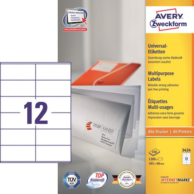 Image of Avery Universele Etiketten Wit 105x48mm 100 vellen