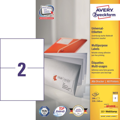 Image of Avery Universele Etiketten Wit 210x148mm 100 vellen
