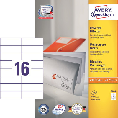 Image of Avery Universele Etiketten Wit 105x37mm 100 vellen