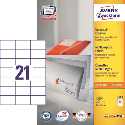 Image of Avery Universele Etiketten Wit 70x42,3mm 100 vellen