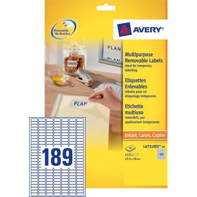 Image of Avery Universele Mini Etiketten Wit 25,4x10mm 25 vellen