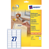Avery Universele Etiketten Wit 63,5x29,6mm 25 vellen
