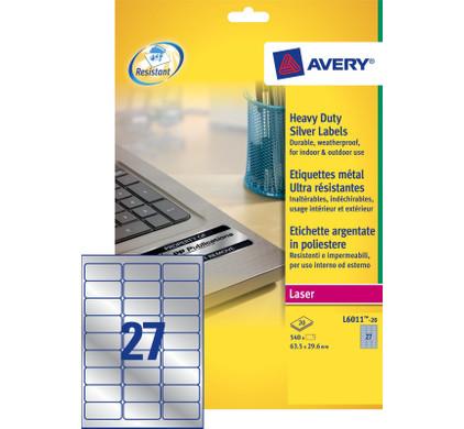 Avery Ultrasterke Etiketten Zilver 63,5x29,6mm 20 vellen
