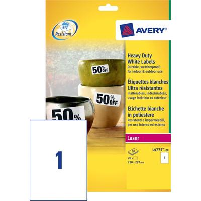 Image of Avery Ultrasterke Etiketten Wit 210x297mm 20 vellen