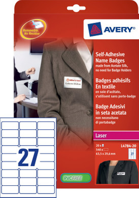 Avery Naambadge Etiketten Wit 63,5x29,6mm 20 vellen