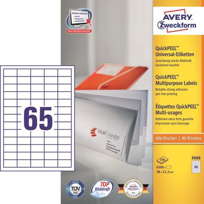 Image of Avery Universele Etiketten Wit 38x21,2mm 100 vellen