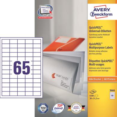 Avery Universele Etiketten Wit 38x21,2mm 100 vellen