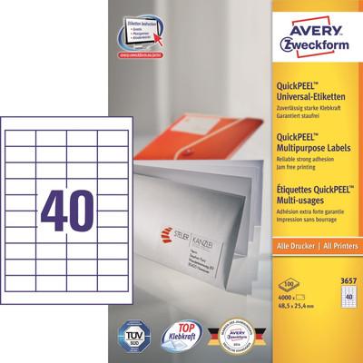 Image of Avery Universele Etiketten Wit 48,5x25,4mm 100 vellen