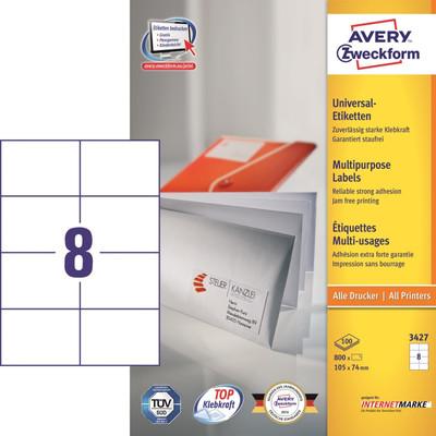 Image of Avery Universele Etiketten Wit 105x74mm 100 vellen