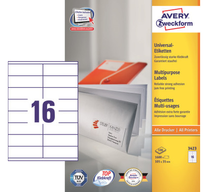 Avery Universele Etiketten Wit 105x35mm 100 vellen