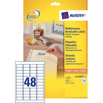 Image of Avery Universele Etiketten Wit 45,7x21,2mm 25 vellen