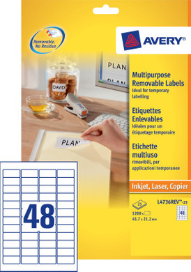 Avery Universele Etiketten Wit 45,7x21,2mm 25 vellen