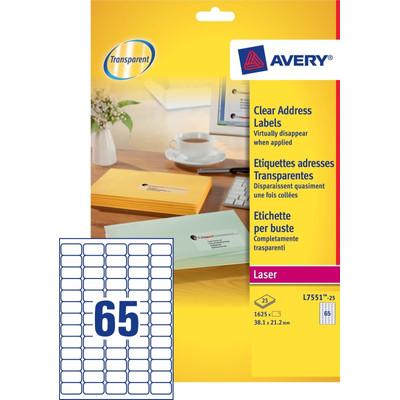 Image of Avery Mini Etiketten Transparant 38,1x21,2mm 25 vellen