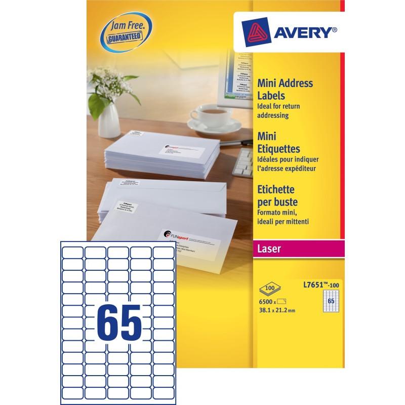 Avery Mini Etiketten Wit 38,1x21,2mm 100 vellen