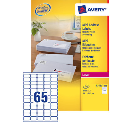 Avery Mini Etiketten Wit 38,1x21,2mm 100 vellen