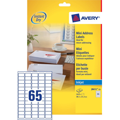 Image of Avery Mini Etiketten Wit 38,1x21,2mm 25 vellen