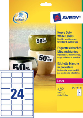 Avery Ultrasterke Etiketten Wit 63,5x33,9mm 20 vellen