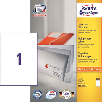 Image of Avery Universele Etiketten Wit 210x297mm 100 vellen