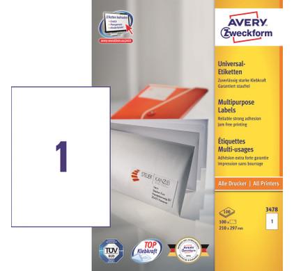Avery Universele Etiketten Wit 210x297mm 100 vellen