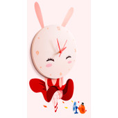 JP4KIDS Wandklok Sweet Rabbit