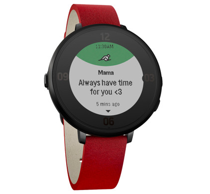 Pebble Time Round Leather Black/Flame Red