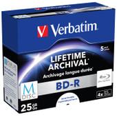 VERBATIM M-DISC BD-R 4x 25GB INKJET PRINTABLE 5 PACK JEWEL CASE
