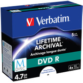 VERBATIM M-DISC DVD+R 4x 4.7GB IJ PRINTABLE 5 PACK JEWEL CASE