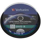 VERBATIM M-DISC DVD+R 4x 4.7GB IJ PRINTABLE 10 PACK SP