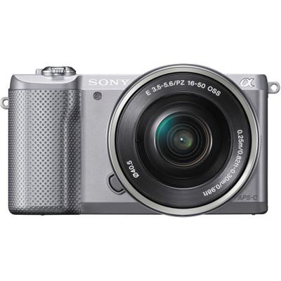 Image of E-mount systeemcamera Sony Alpha 5000 set Incl. SEL-P16-50 mm lens incl. standaard-zoomlens 20.1 Mpix Zilver Full-HD video-opname, Draai- en zwenkbare display,