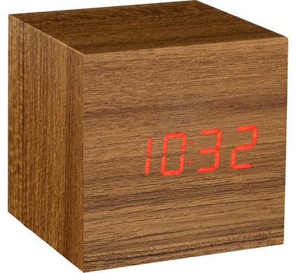 Gingko Cube Click Clock Teak/Rood