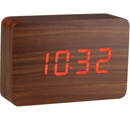 Gingko Brick Click Clock Walnoot/Rood