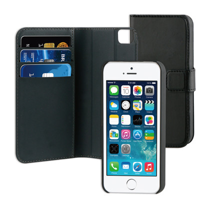 Image of BeHello 2-in-1 Wallet Case Apple iPhone 5/5S/SE Zwart