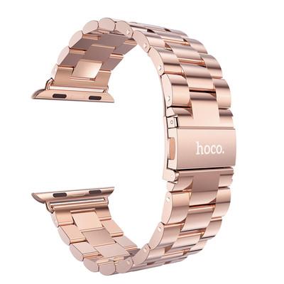 HOCO Metal Apple Watch Polsband 3 Schakels Rose Goud - 42mm