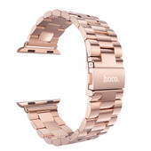 HOCO Metal Apple Watch Polsband 3 Schakels Rose Goud - 42mm