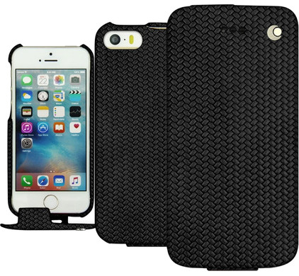 Noreve Tradition Woven Leather Case Apple iPhone 5/5S/SE Zwart