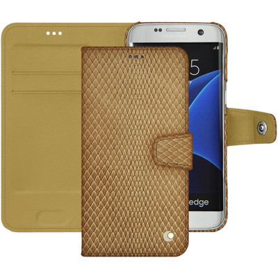 Noreve Tradition B Snake Leather Case Samsung Galaxy S7 Edge Beige