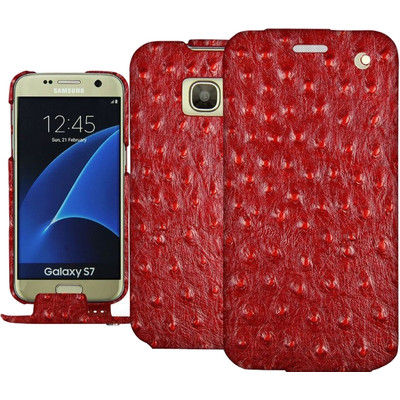 Noreve Tradition Ostrich Leather Case Samsung Galaxy S7 Rood
