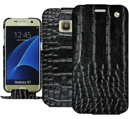 Noreve Tradition Crocodile Leather Case Samsung Galaxy S7 Zwart