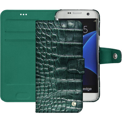 Noreve Tradition B Crocodile Leather Case Samsung Galaxy S7 Edge Groen
