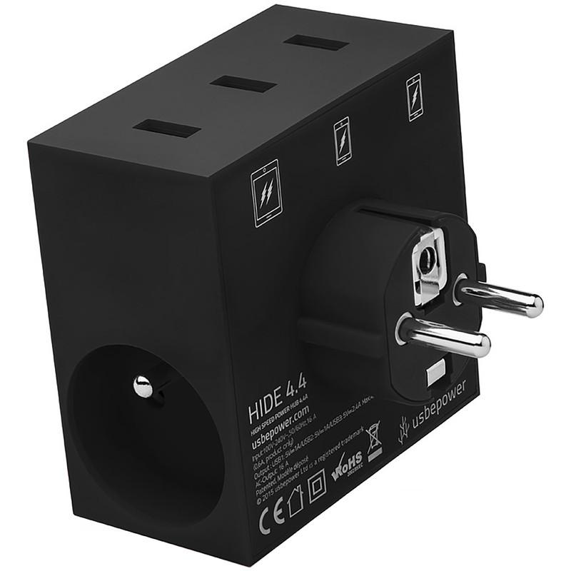 USBEPOWER High Speed 5 in 1 usb lader & power hub zwart