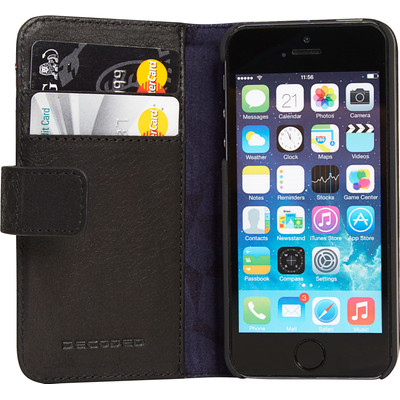 Image of Decoded Leather Book Apple iPhone 5/5S/SE Zwart
