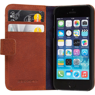 Image of Decoded Leather Book Apple iPhone 5/5S/SE Bruin