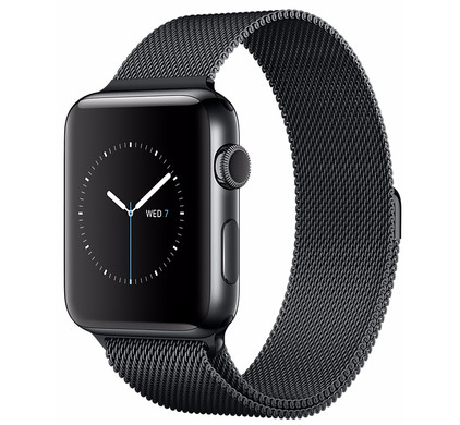 Apple Watch Series 2 38mm Space Zwart Roestvrij Staal/Milanese Polsband