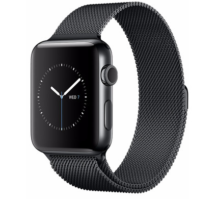 Apple Watch Series 2 42mm Space Zwart Roestvrij Staal/Milanese Polsband