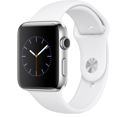 Apple Watch Series 2 42mm Roestvrij Staal/Witte Sportband