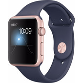 Apple Watch Series 1 42mm Rosegoud Aluminium/Middennachtblauwe Sportband